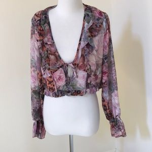 New! Missguided SZ 12, floral leopard milkmaid top